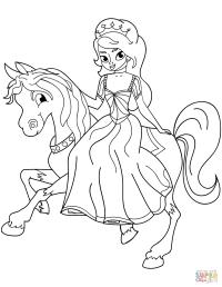 Princess Riding Horse coloring page | Free Printable ...