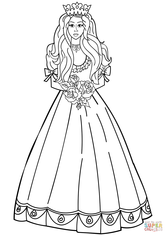 Dibujo De Princesa Con Un Ramo De Rosas Para Colorear