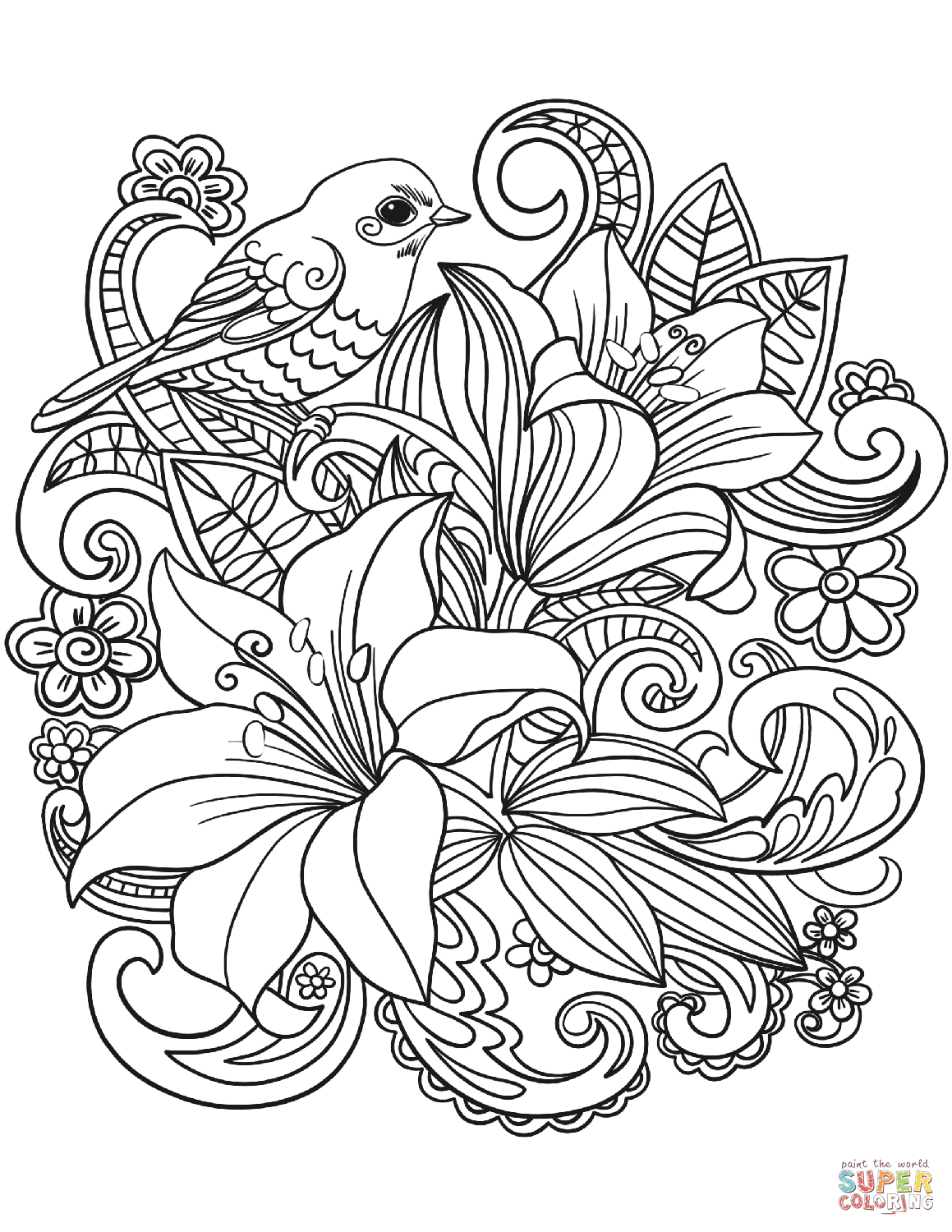 Skylark And Flowers Coloring Page