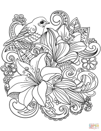Skylark and Flowers coloring page | Free Printable ...