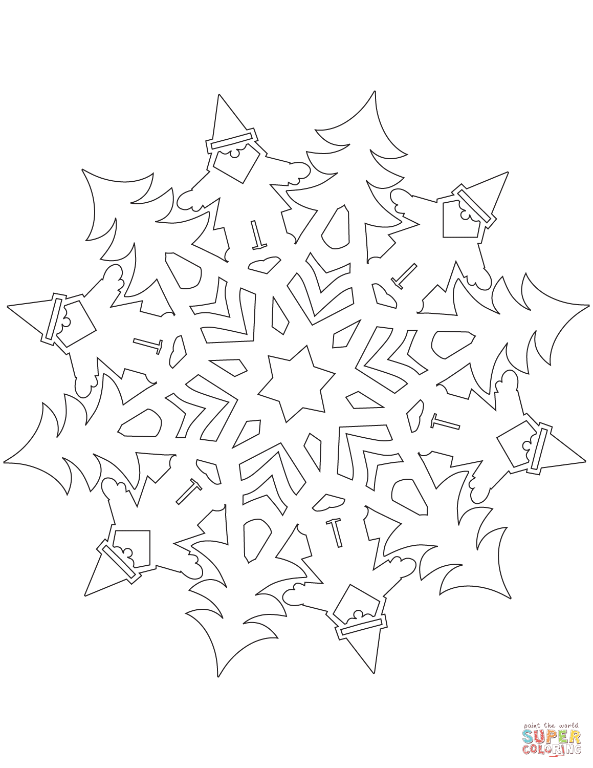 Snowflake With Santa Claus Coloring Page