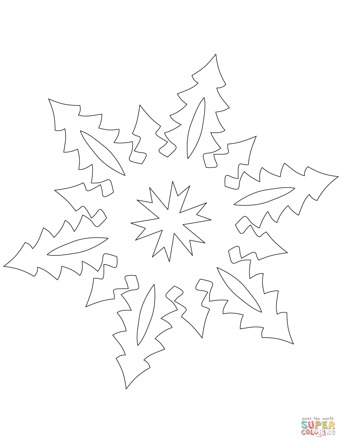 Snowflake with Tall Christmas Trees Pattern coloring page