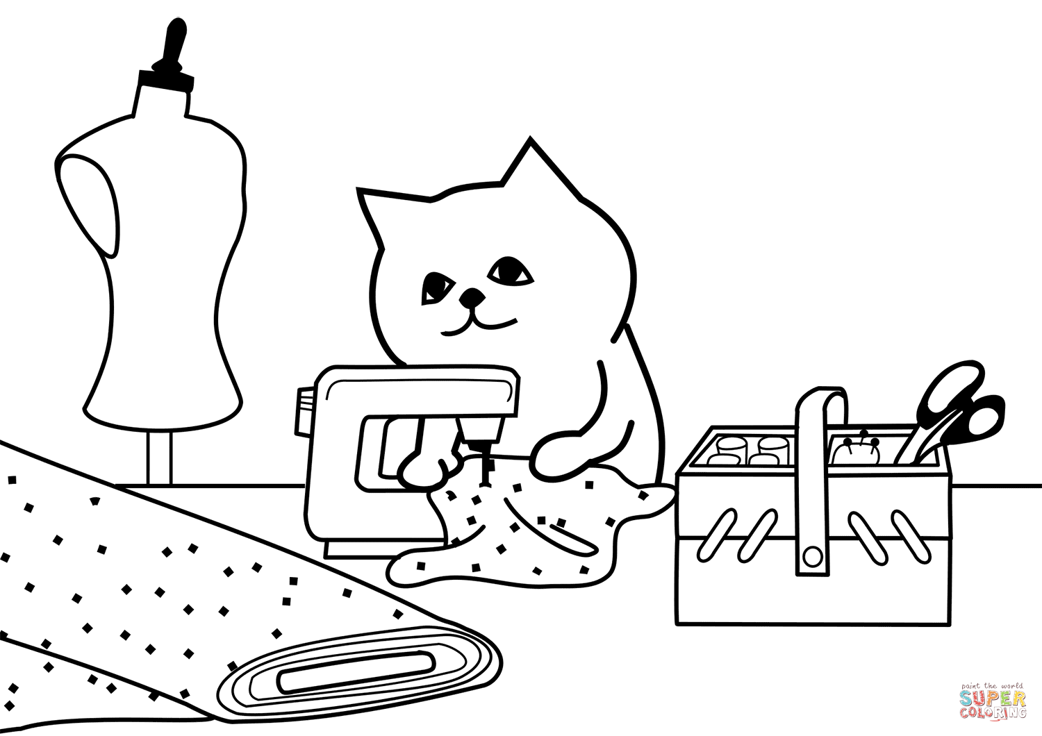 Tailor Cat Coloring Page