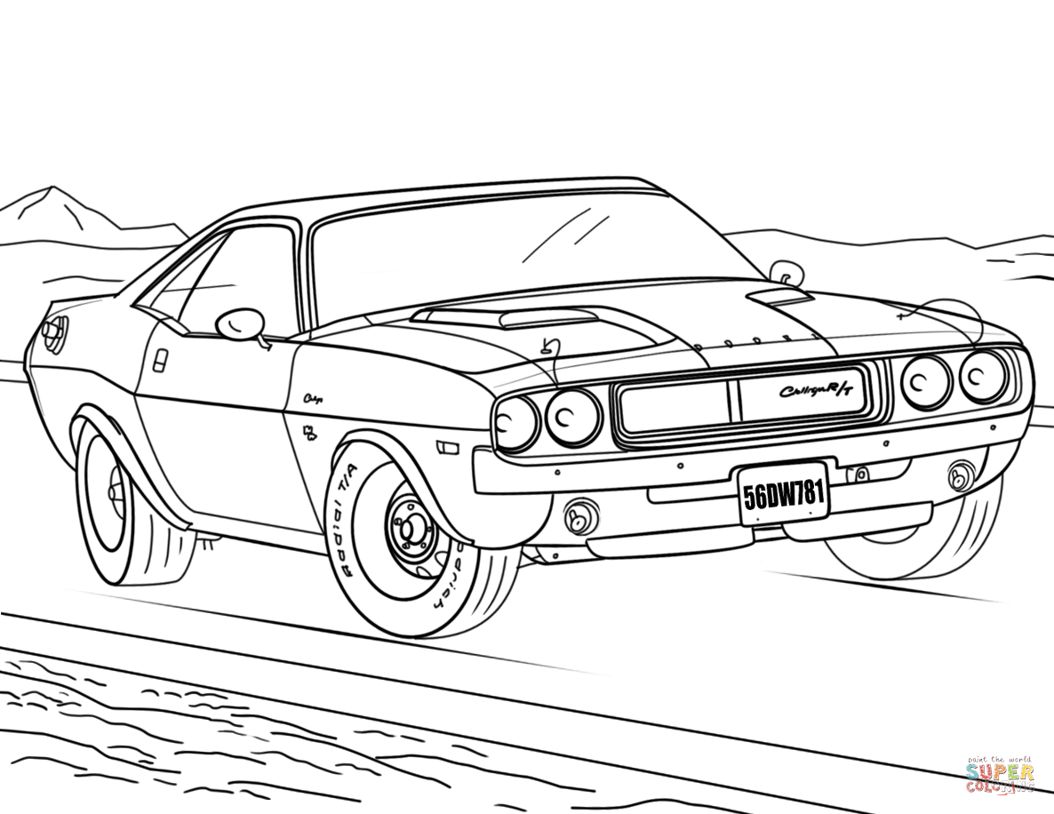 1970 Dodge Challenger Coloring Page Free Printable Coloring Pages