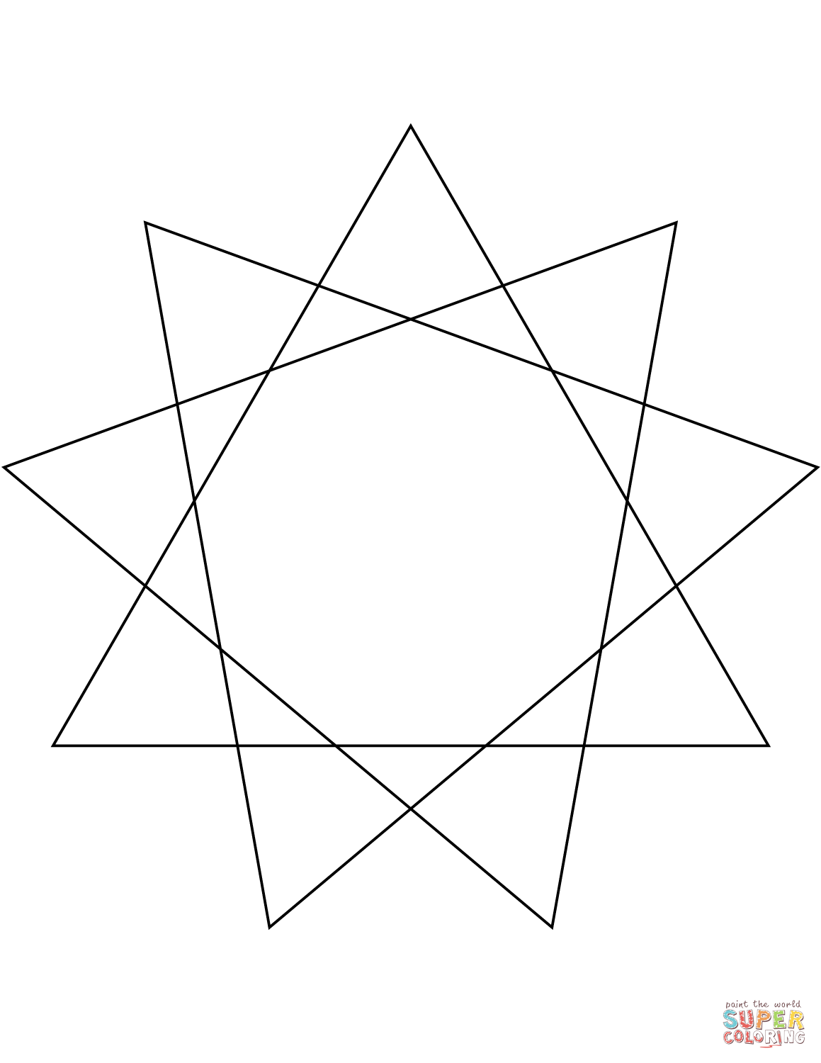 9 Point Star Coloring Page