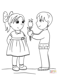 Boy Gives Flower to Girl coloring page | Free Printable ...