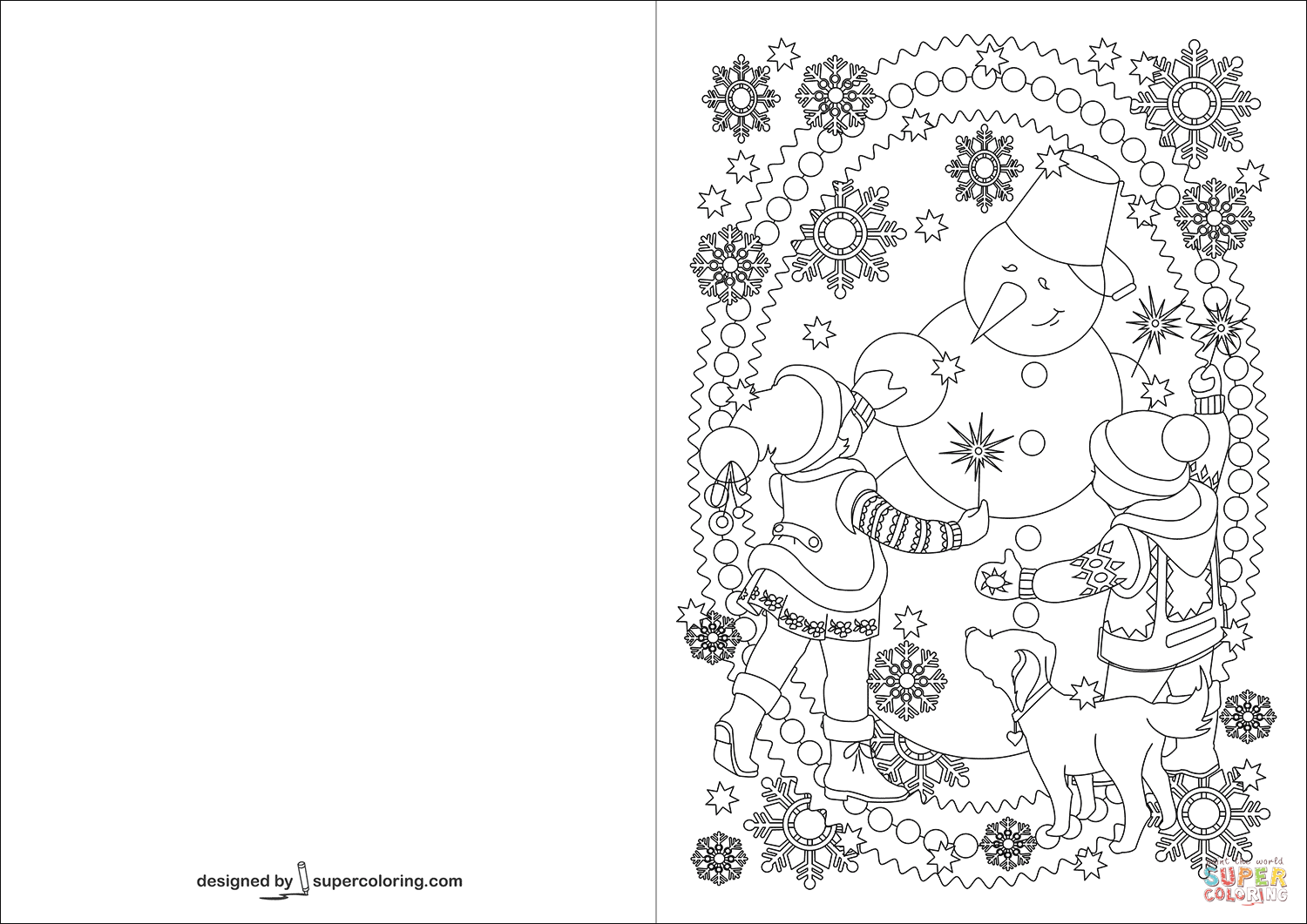 Children And Snowman Are Celebrating Happy New Year Card Coloring