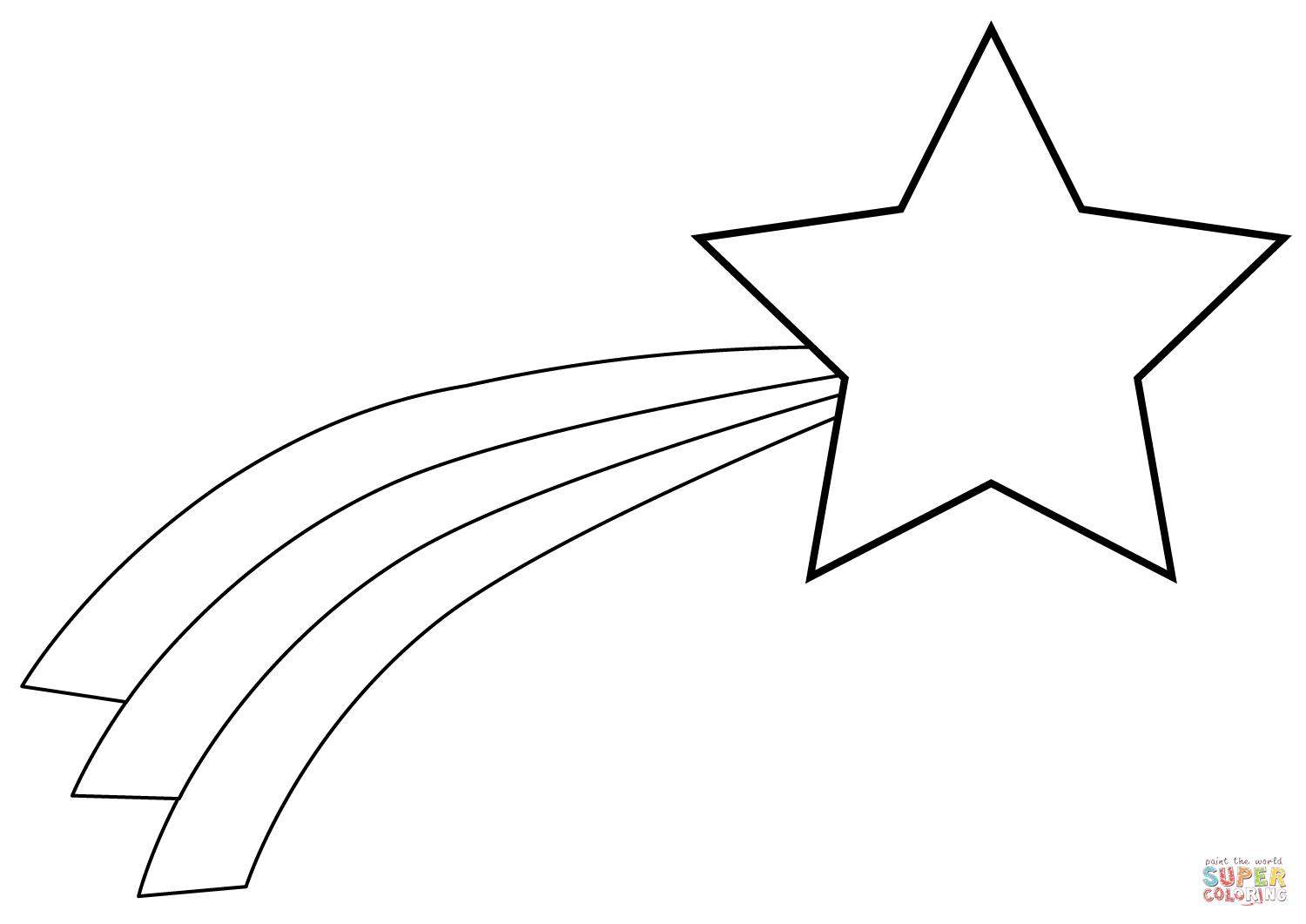 Christmas Shooting Star Coloring Page