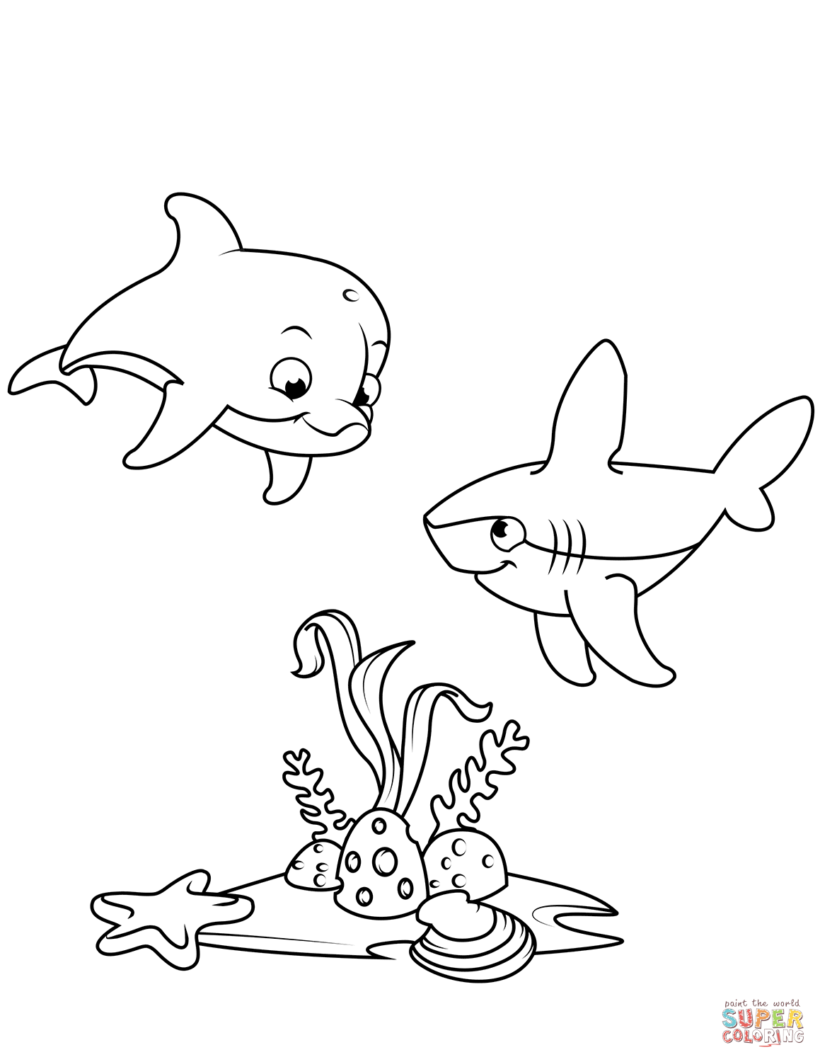 Cute Dolphin And Shark Coloring Page