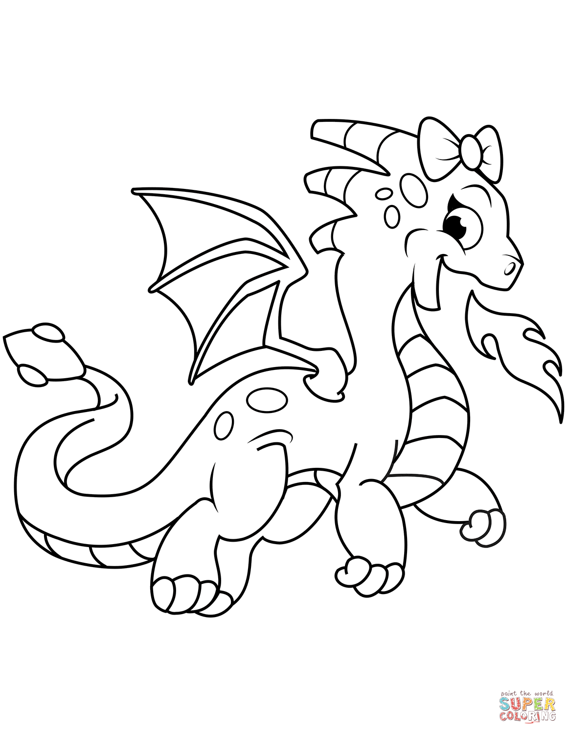 Cute Dragon Breathing Fire Coloring Page