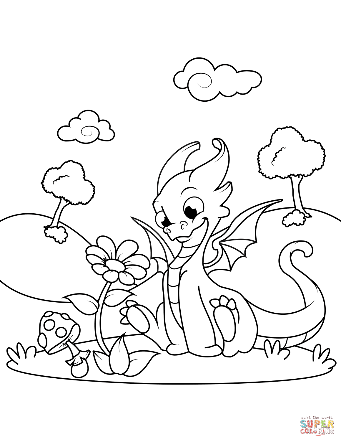 Cute Dragon Outline Drawing