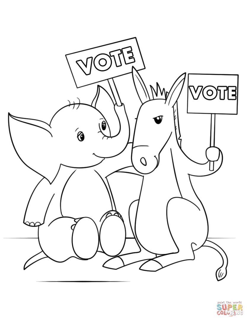 cute elephant and donkey at election day coloring page