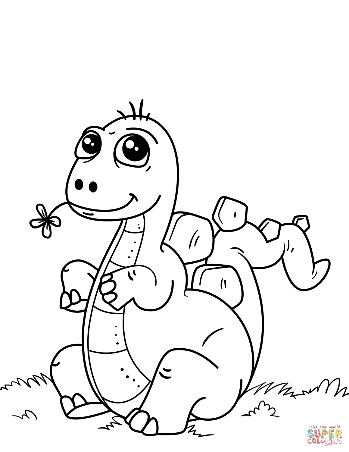Cute Little Dinosaur Coloring Page