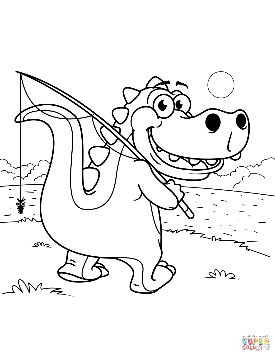 Cute Tyrannosaurus Goes Fishing Coloring Page