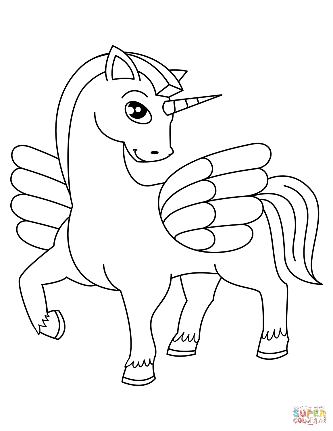 Cute Winged Unicorn Coloring Page