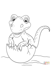Dinosaur Hatching from Egg coloring page | Free Printable ...