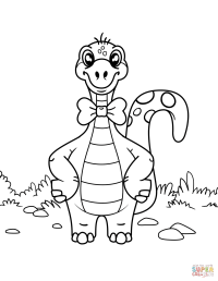 Dinosaur Wearing Bow Tie coloring page | Free Printable ...