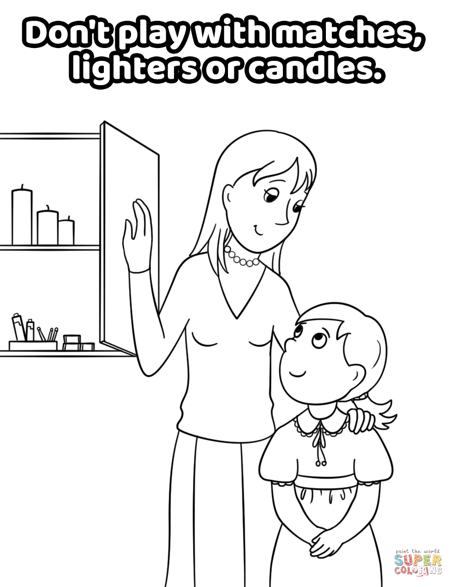 Don't Play with Matches, Lighters or Candles coloring page