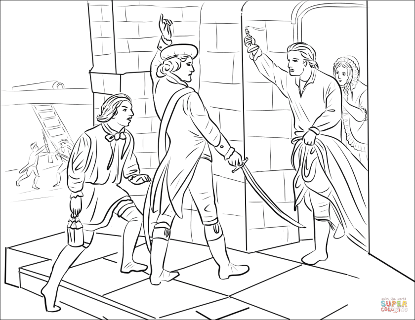 ethan allen captures fort ticonderoga coloring page  free