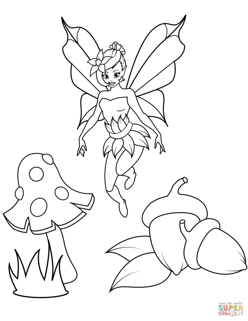 fairy flies over acorns and fly agaric coloring page