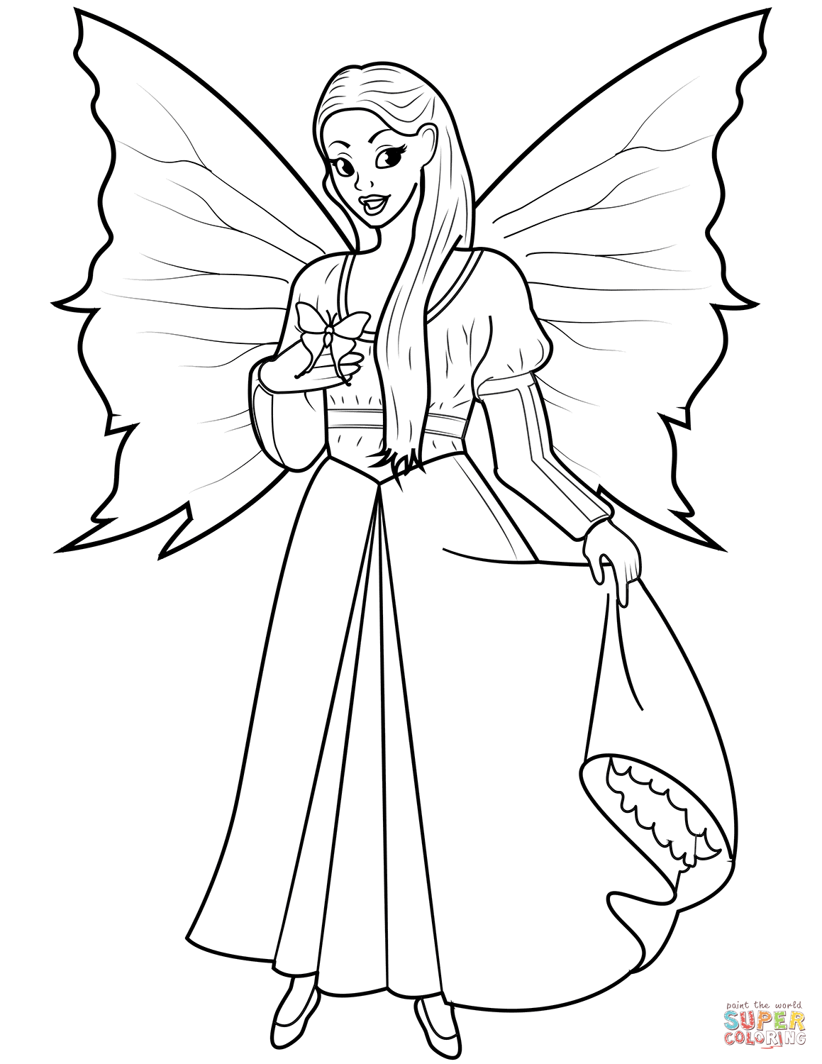 Fairy With Butterfly Coloring Page