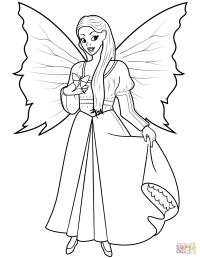 Dibujo de Hada y mariposa para colorear