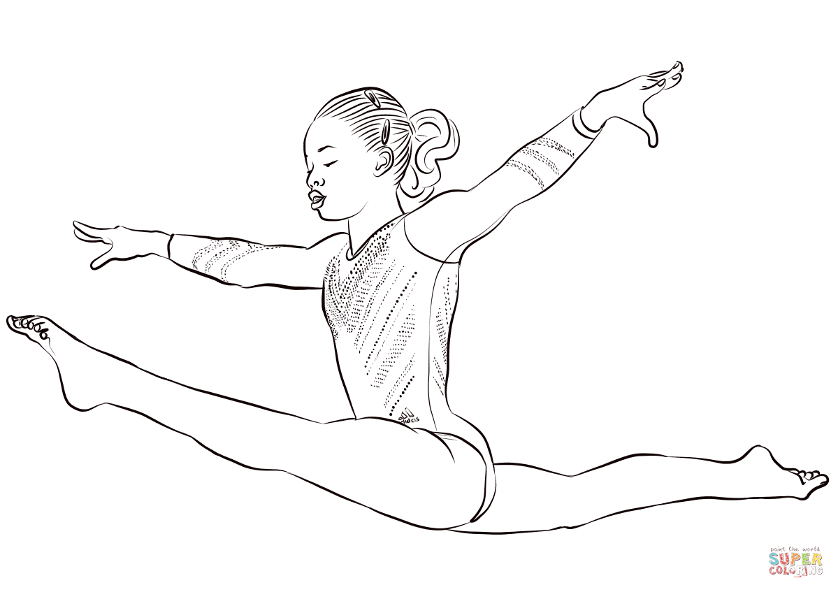 Uneven Bars Artistic Gymnastics Coloring Page