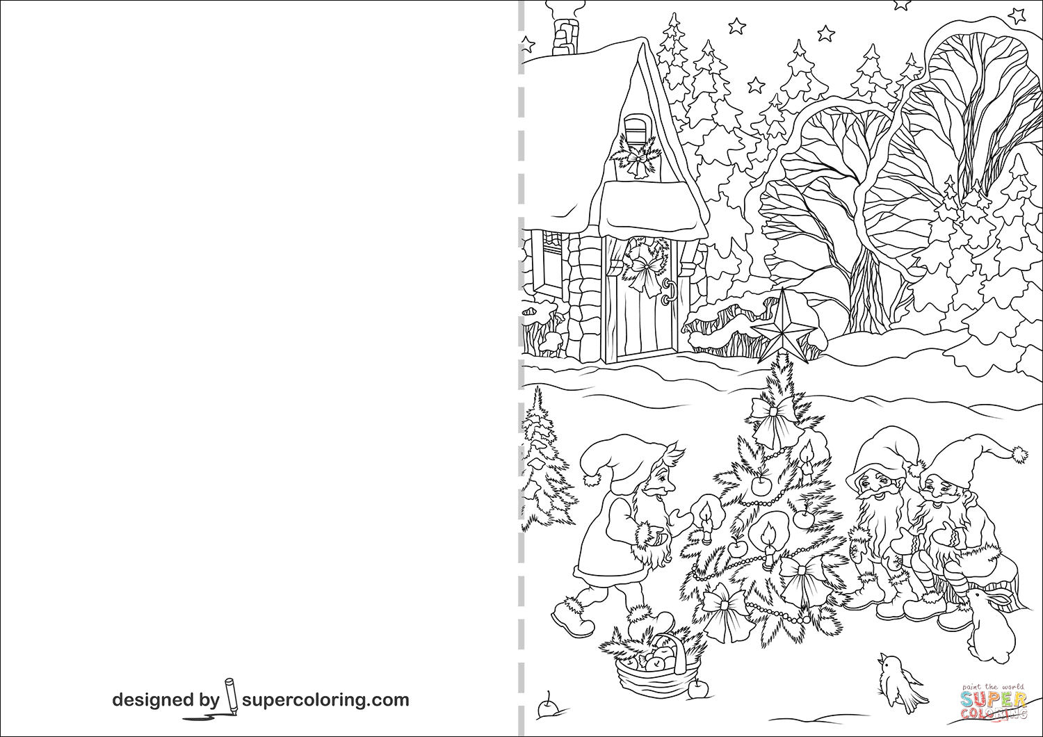 Gnomes Are Decorating Christmas Tree Card Coloring Page