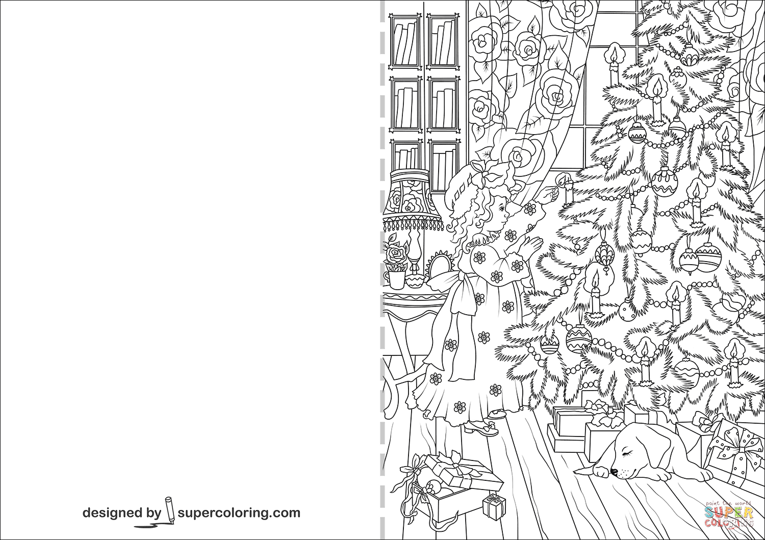 Little Girl Decorating Christmas Tree Card coloring page