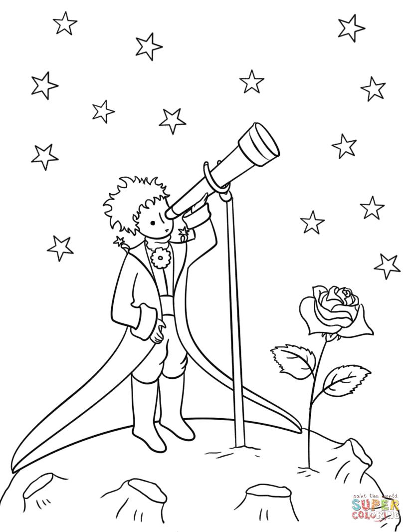 Dibujo de El principito con telescopio para colorear