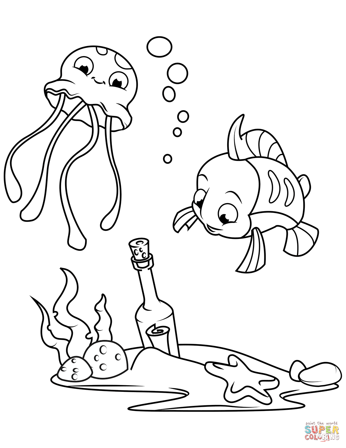 Message In A Bottle On Sea Bottom Coloring Page