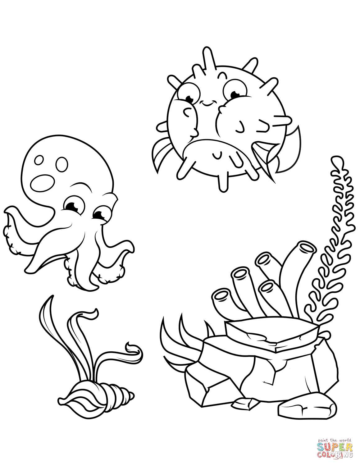 Octopus And Pufferfish Coloring Page Free Printable Coloring Pages