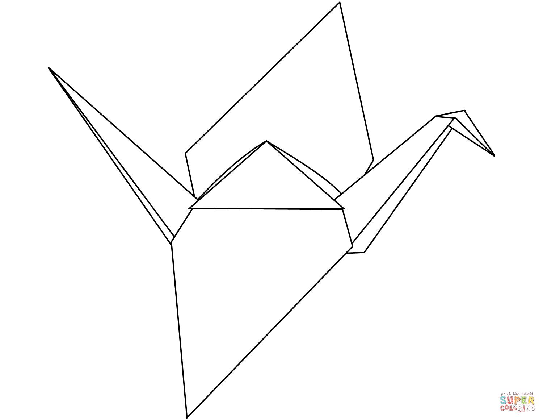 Origami Crane Coloring Page