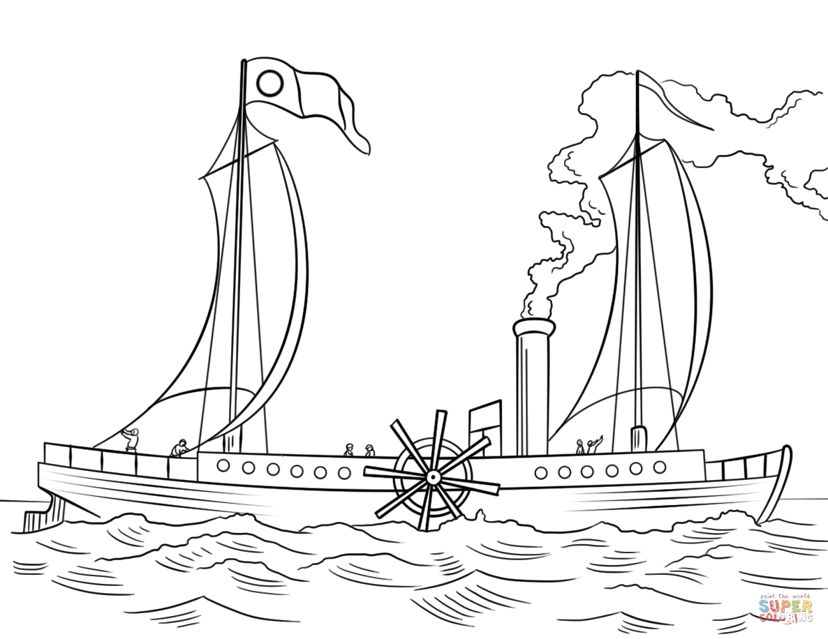 Robert Fulton S Steamboat Clermont Coloring Page