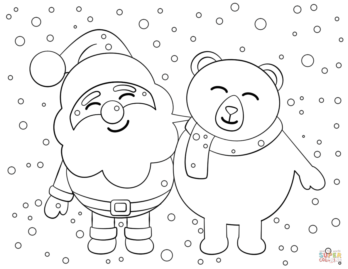Santa And Bear Coloring Page