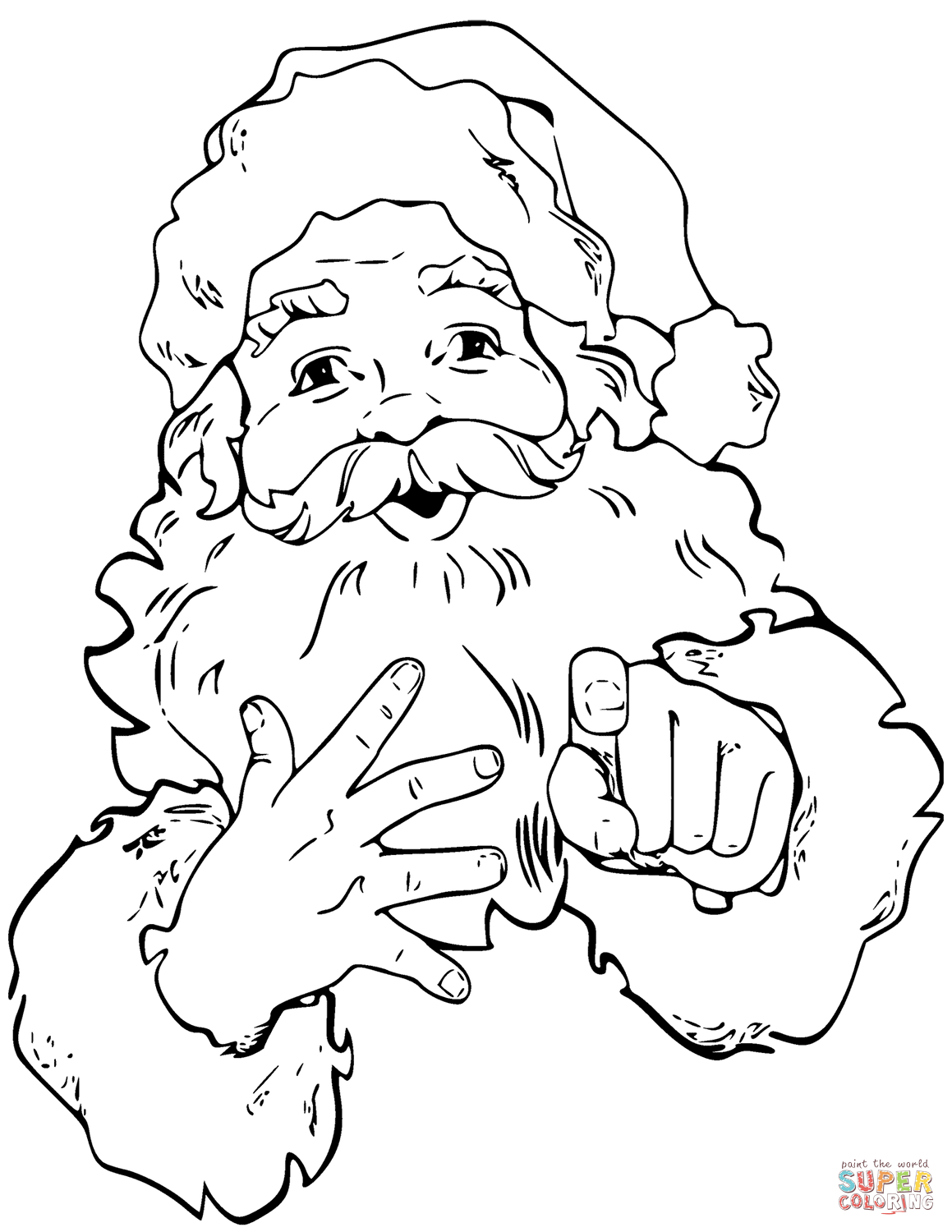 Santa Claus Is Pointing Finger Coloring Page