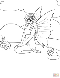 Sitting Fairy coloring page | Free Printable Coloring Pages