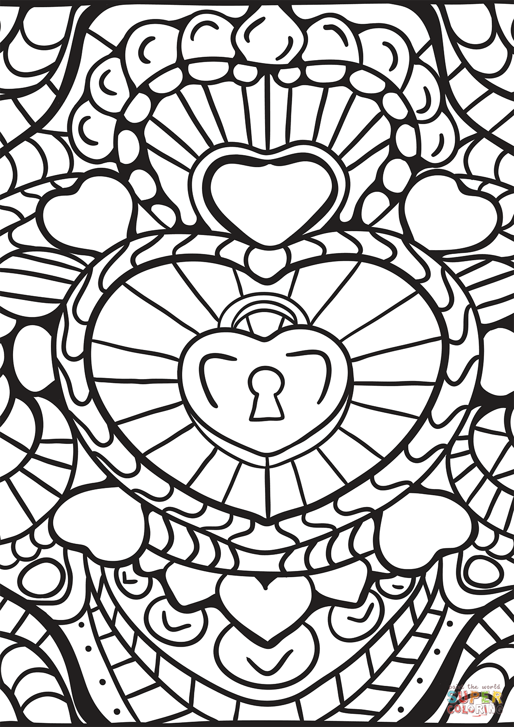 Abstract Heart Patterns Coloring Page