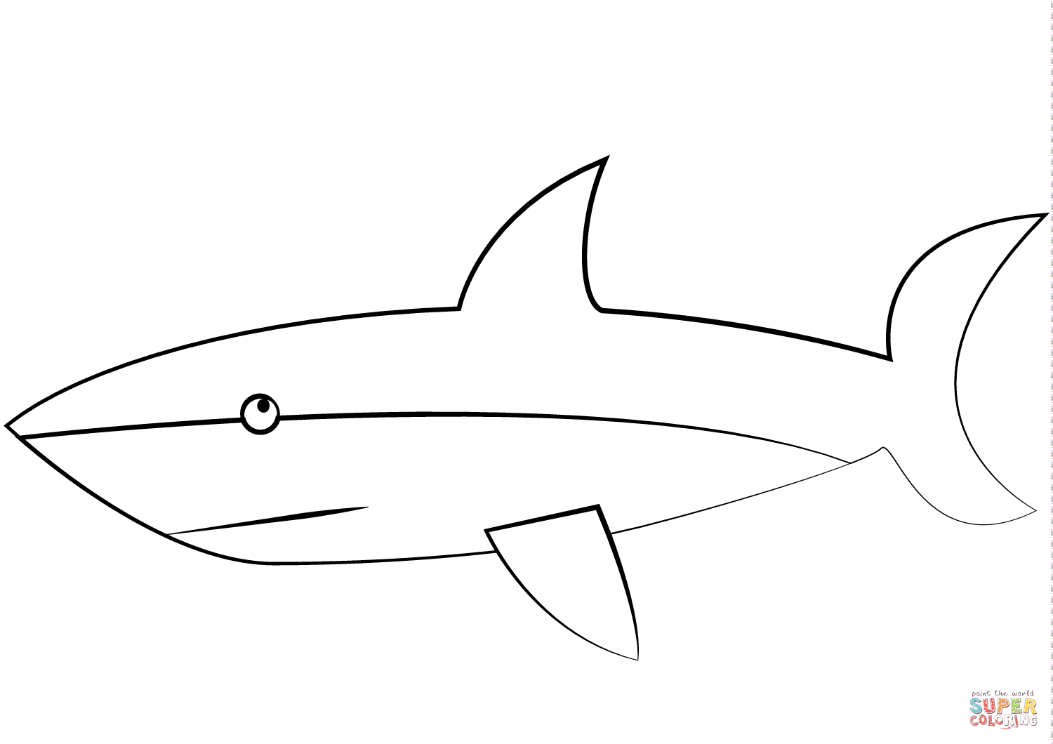 Cartoon Great White Shark Coloring Page