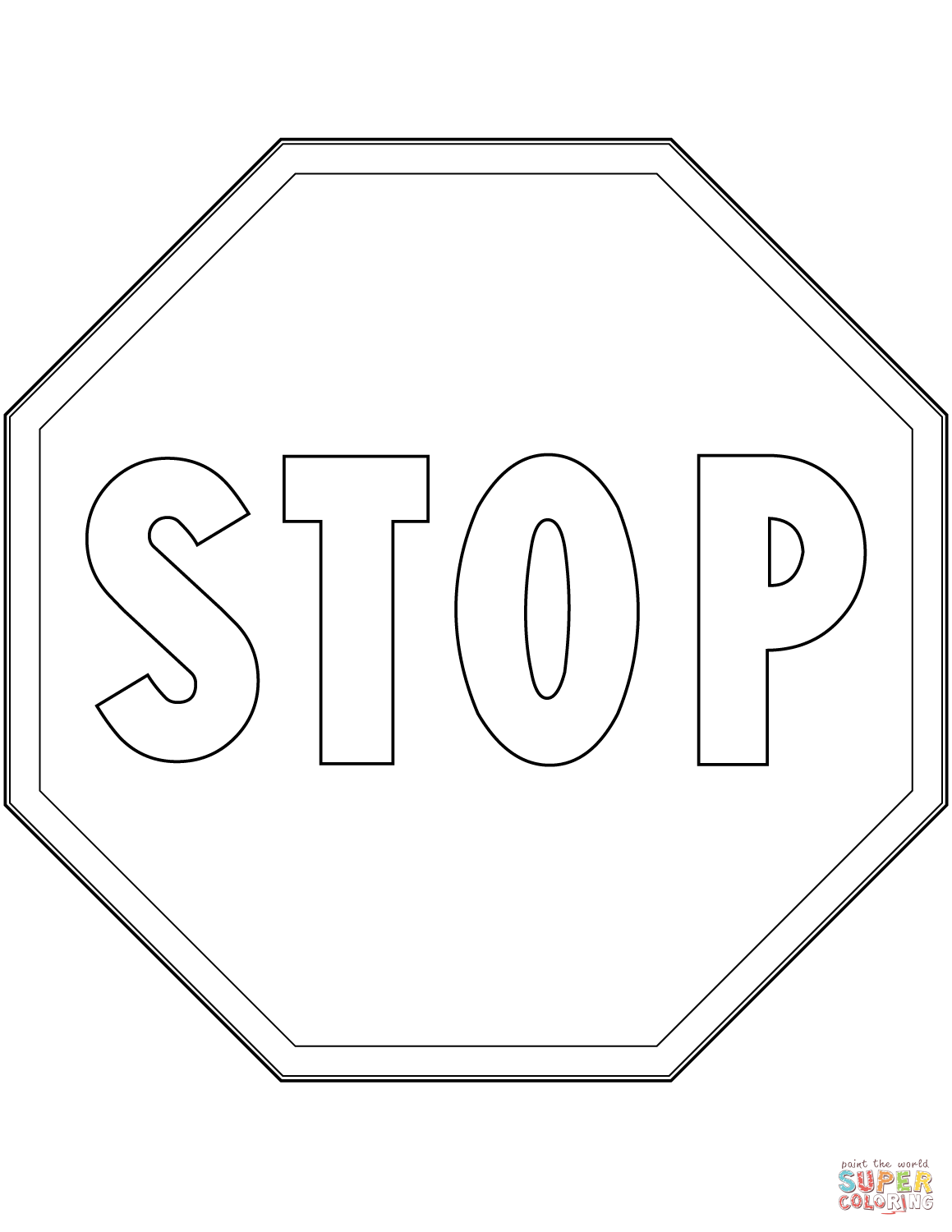 Stop Sign In Italy Coloring Page