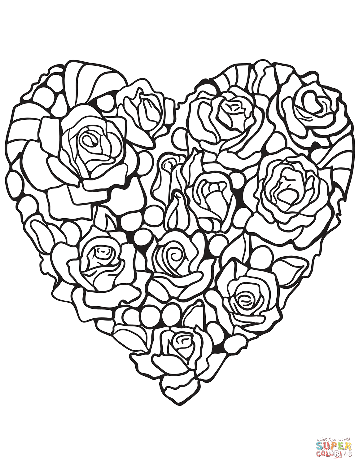 Heart Made Of Rose Coloring Page