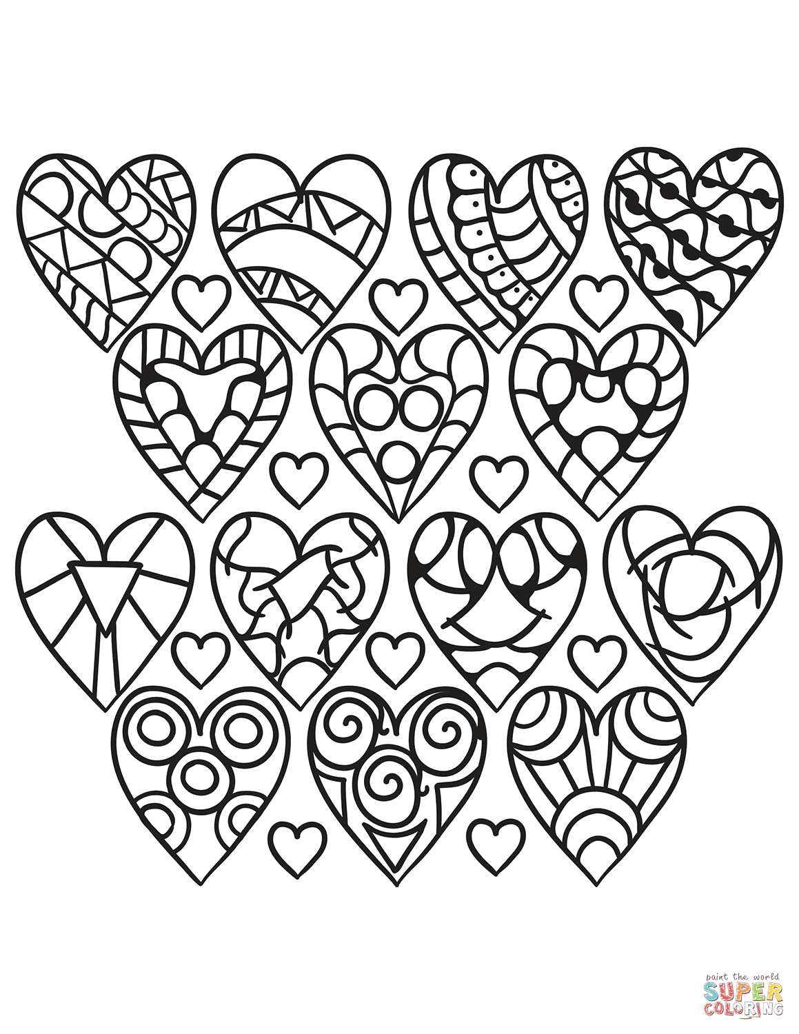 Hearts Pattern Coloring Page