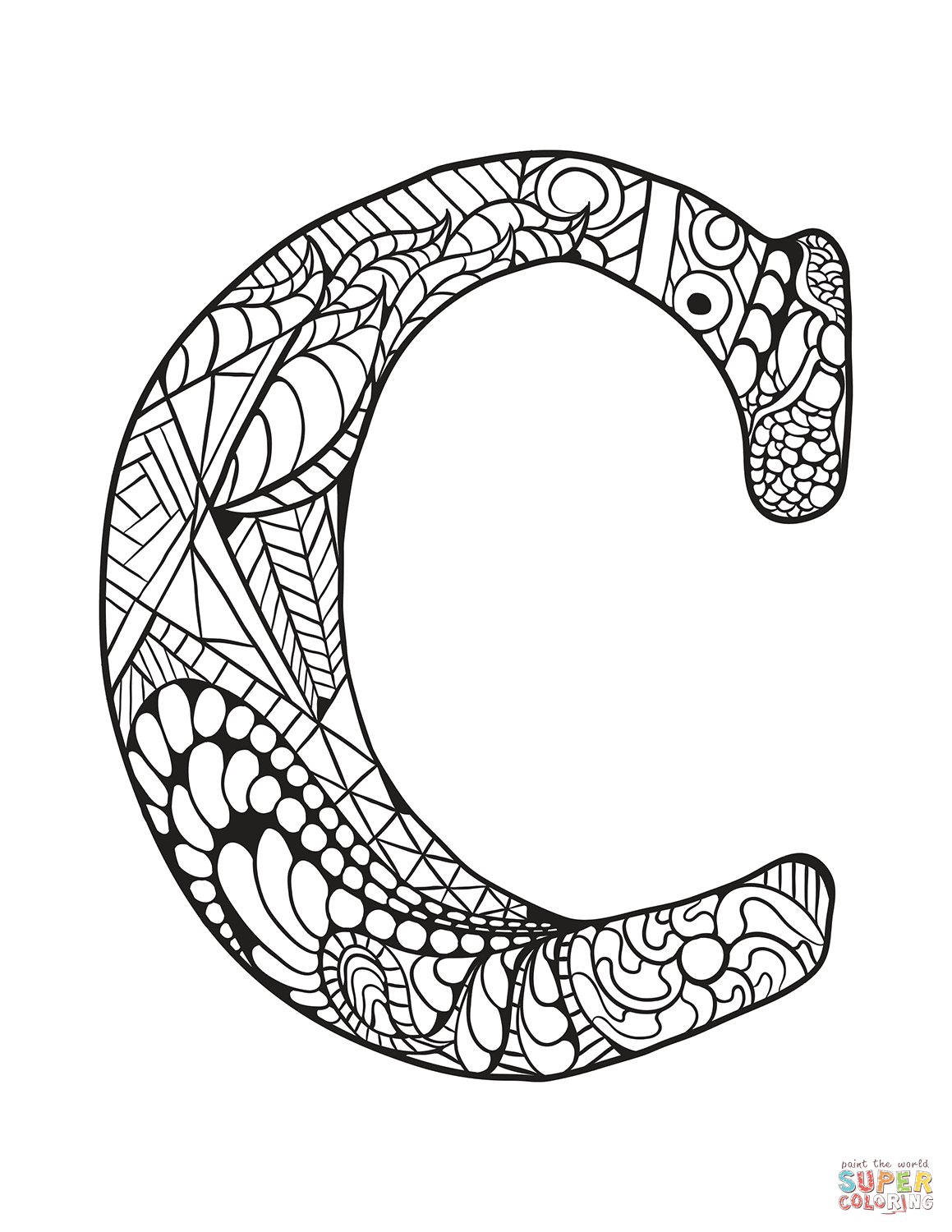 Letter C Zentangle Coloring Page