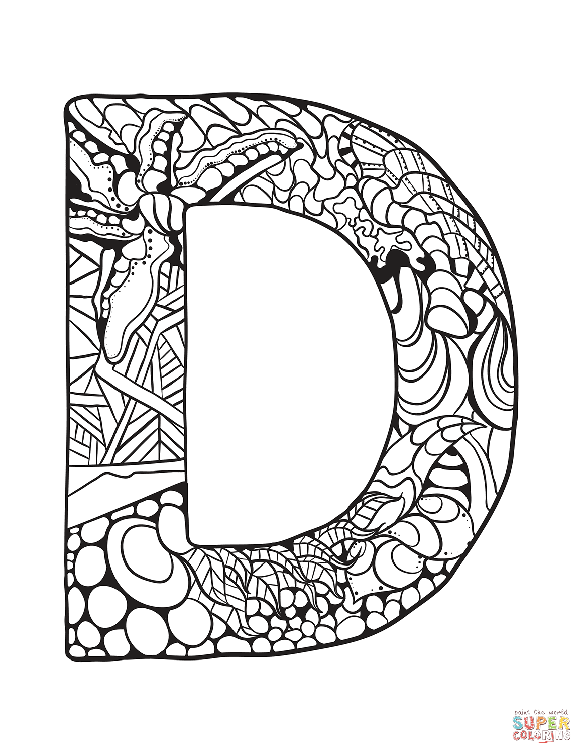 Letter D Zentangle Coloring Page