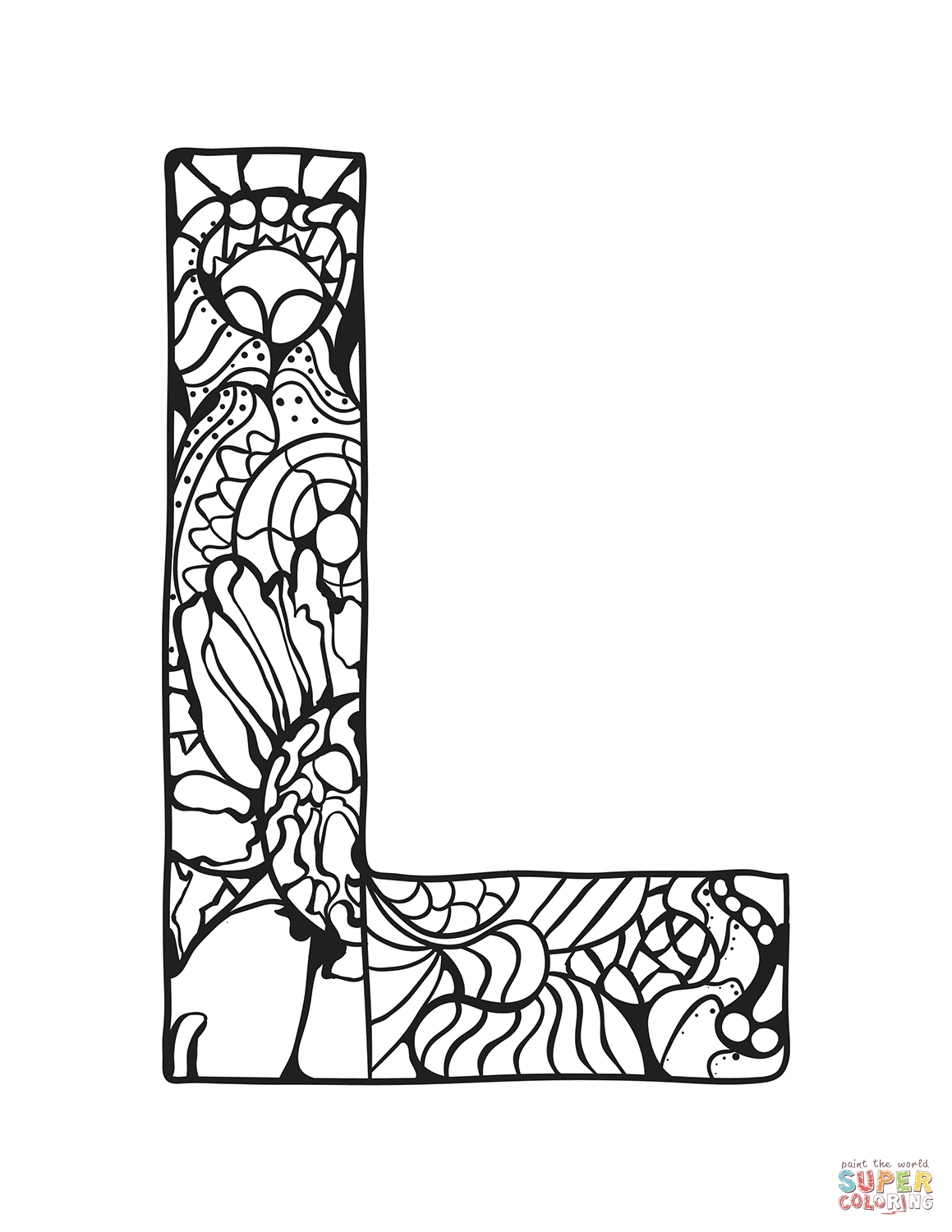 Letter L Zentangle Coloring Page