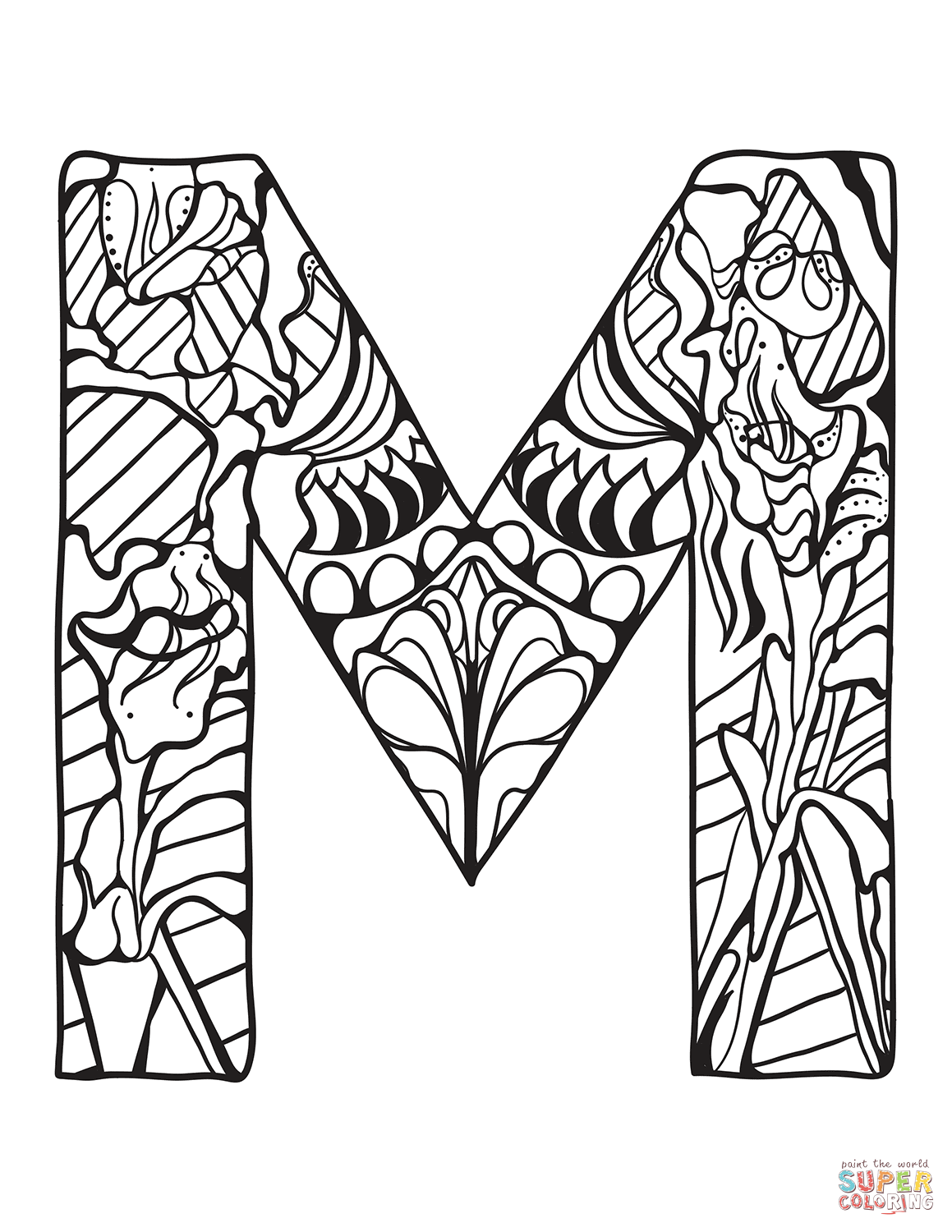 Letter M Zentangle Coloring Page