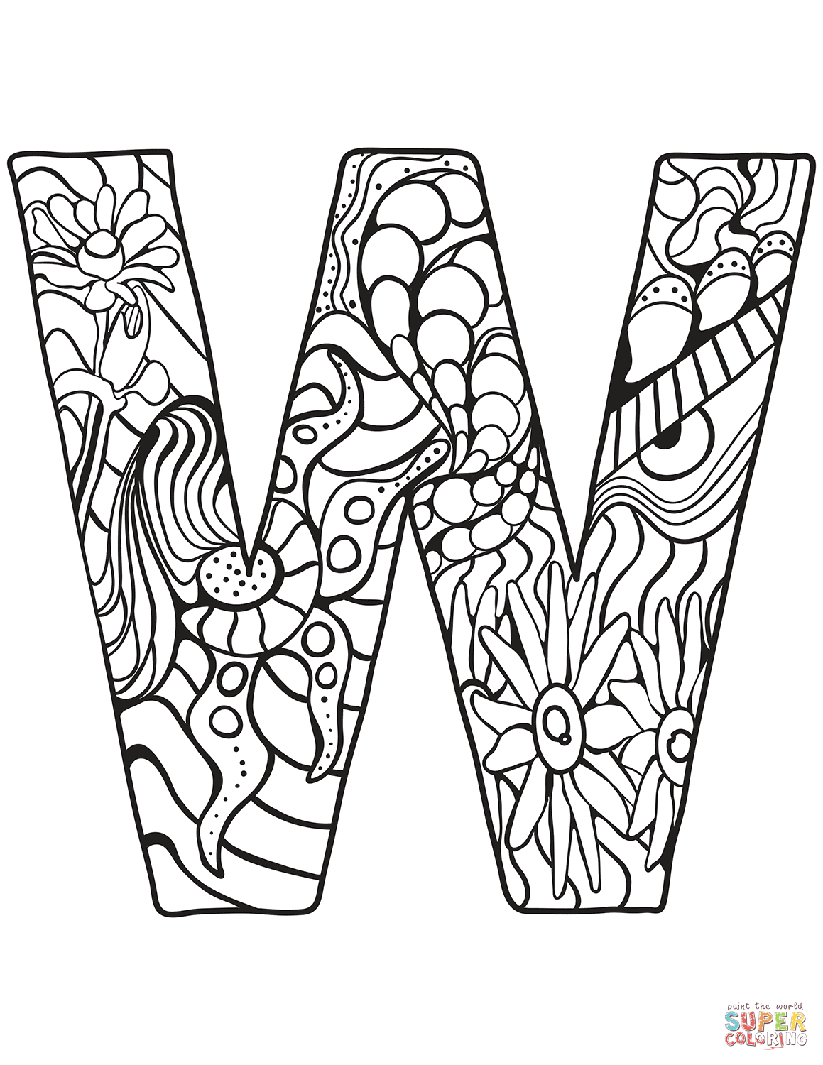 Letter W Zentangle Coloring Page
