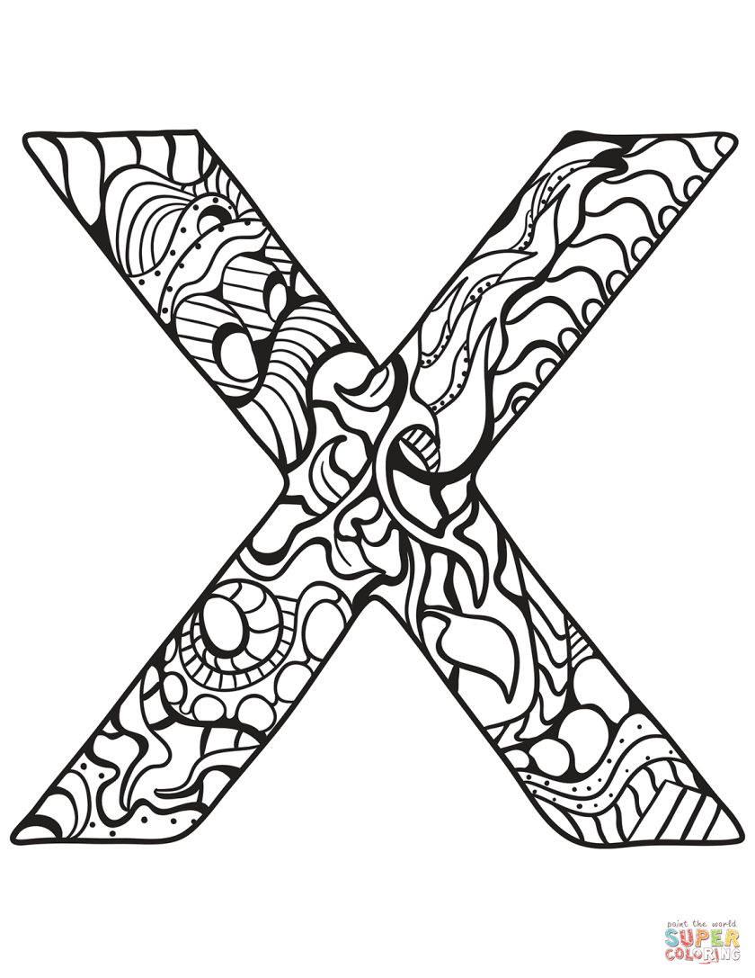 letter x zentangle coloring page  free printable coloring