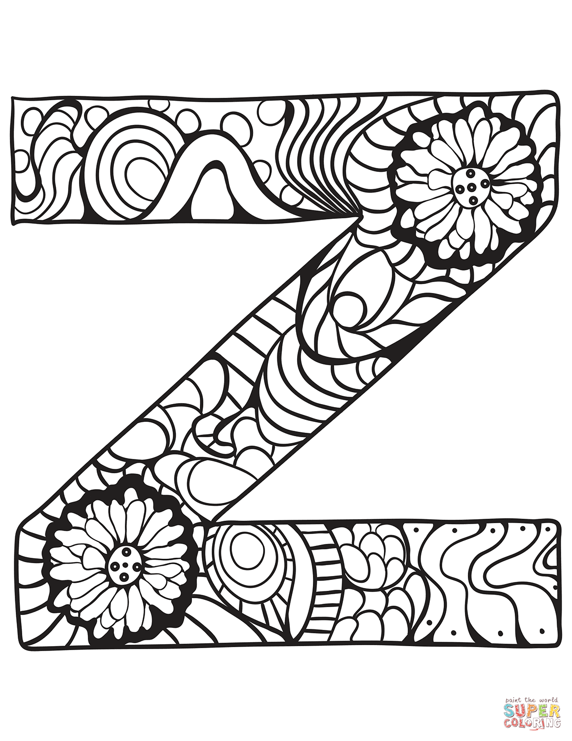 Letter Z Zentangle Coloring Page