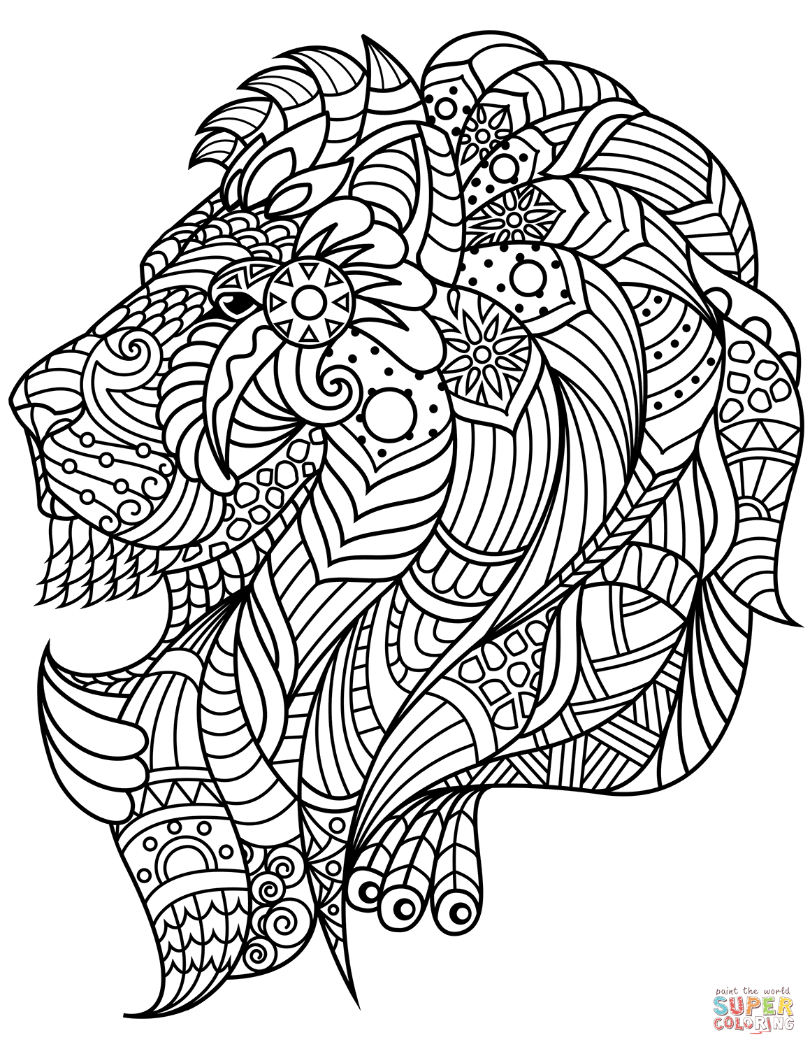 Lion Head Zentangle Coloring Page